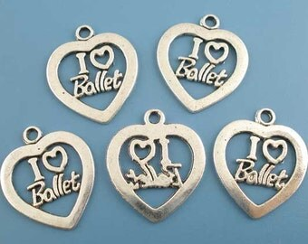 "5 Pieces Antique Silver Valentine ""I Love Ballet"" Heart Charms"