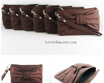 SUPER SALE - Set of 10 Brown Bow Clutches - Bridal Clutch, Bridesmaid Clutch, Bridesmaid Wristlet, Wedding Gift,Zipper Pouch - Made To Order