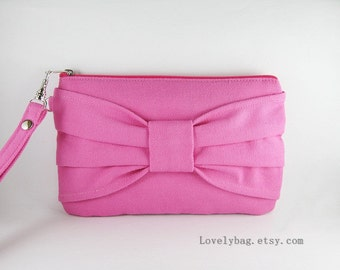SUPER SALE - Pink Bow Clutch - Bridal Clutches, Bridesmaid Wristlet, Wedding Gift, Cosmetic Bag, Camera Bag, Zipper Pouch - Made To Order