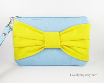 SUPER SALE - Light Blue with Yellow Bow Clutch - Bridal Clutches, Bridesmaid Wristlet,Wedding Gift,Cosmetic Bag,Zipper Pouch - Made To Order
