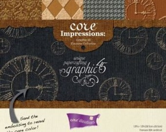 """GRAPHiC 45- """"TIMELESS COLLECTION""""  RARE !!! -12x12""""-  EMBoSSED CARDSToCK  to Go With GRAPHiC 45 PaPERS"""