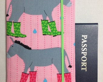 Lamianted Passport Wallet - Donkey in Rain Boots- Pink- Elastic Closure- 2 card pockets and plastic ID slot