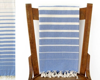 Yoga Towel Turkish Beach Towel Handwoven Throw Blanket Turkish Bath Towel Sarong Table Runner Fouta Towel Pareo Picnic Blue SPACE PESHTEMAL