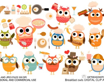Breakfast owl Digital clip art for Personal and Commercial use - INSTANT DOWNLOAD