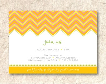 Chevron Pattern Party Invitation - Printable DIY - Custom Color and Font
