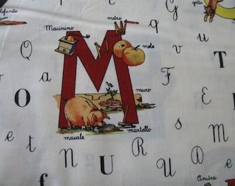 Grande Alfabeto (Portugese Alphabet) in Cream from Michael Miller Fabrics 1 yard
