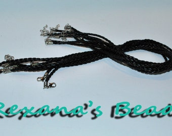 """Black Braided Leather Necklace Cord Chain- 18"""" w/1.5"""" Extender Chain"""