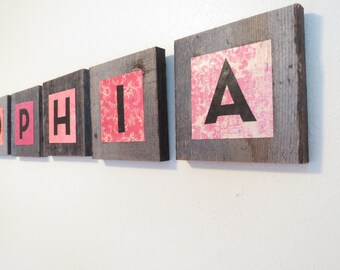 Wooden Letters - Rustic Wooden Letter - Personalized Wooden Letter - Reclaimed Wood Letter For Nursery - Wooden Letter Wall Decor -  Kids