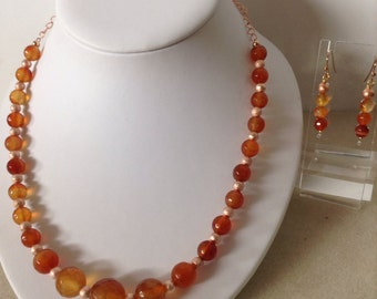 Faceted orange agate necklace and earrings set