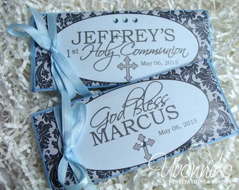 Communion Christening Candy Bar Wrappers Blue Boy Damask - Chocolate Bar Favors - Communion, Christening, Baptism, Baby Shower, Religious