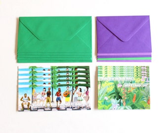 Set of 10 Bossa Nova cards , 5 Amazon Jungle cards , 5 Brazilian beach card , green and purple envelopes for music lovers gift for teenagers