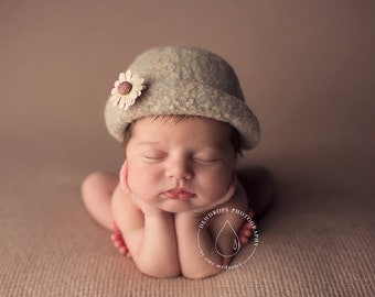 Felted Newborn Hat ~Vintage Cloche'    Hand Knit and Felted Cloche'   Newborn Baby Photo Prop