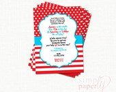 Custom Dr. Seuss themed (printable digital) baby shower invitation, Cat in the Hat, RED
