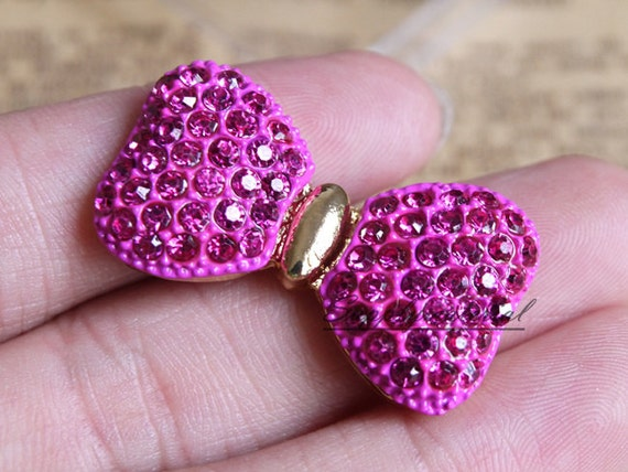 1PCS 35x18mm Rose Crystal rhinestones Bow Bowknot flatback Alloy Jewelry accessories DIY Phone deco