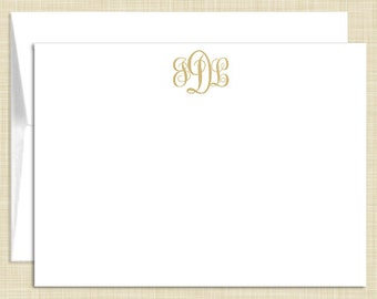 Monogram  Stationery - set of 10 - flat note cards - FEMININE MONOGRAM