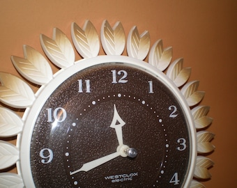 Westclox Posey Wall Clock, Electric Working Kitchen Clock, Brown Feathers Leaf Design Clock