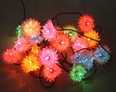 Vintage Foil and Acrylic Color Christmas Holiday Lights - Blinking