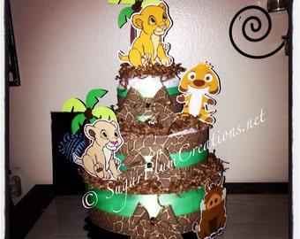 Lion King Three Tier Diaper Cake- Simba, Nala, Timon and Pumba, Lion King Baby Shower Decorations, Simba Baby Shower Gift, simba theme party