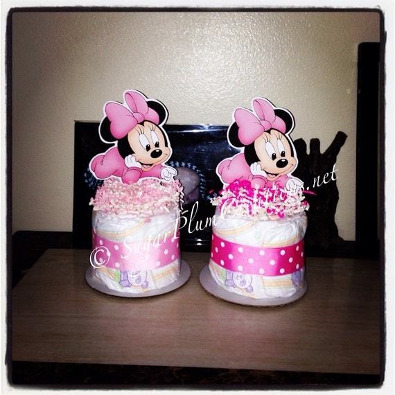 Baby minnie mouse diaper cake mini minnie mouse baby shower or for Baby minnie mouse decoration ideas