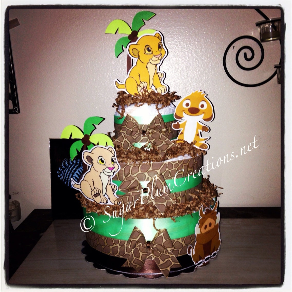 Lion King Three Tier Diaper Cake Simba Nala Timon and