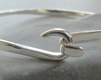 Sterling Silver Bangle Bracelet Handmade bracelet Silver friendship bracelet  Hook  Bracelet Bangle Women's jewelry. Cuff bracelet