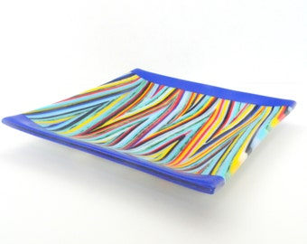 Colorful, Striped Square Fused Glass Platter FB301