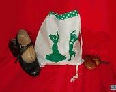 Flamenco dancer, shoe bag, green screenprint, lingerie bag, white and green, drawstring pouch, white, flamenco silhouettes
