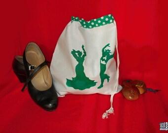 Flamenco gift, Dance shoes bag, White and Green, Flamenco shoes bag, flamenco dance gift, Travel lingerie bag, flamenco lover gift