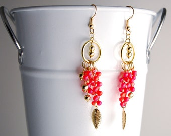 Red & Gold Dangle Earrings in Metal and Glass