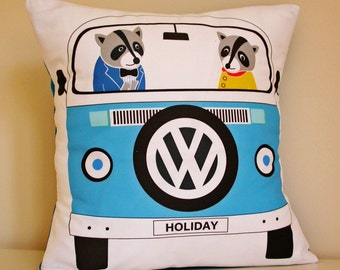 Raccoons In A Campervan Boy's Cushion Cover Only - Digital printed kids cushion - Children's animal cushion