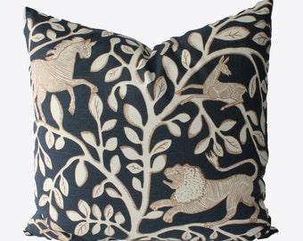 Decorative Designer Dwell Studio, Navy Blue, Tan Botanical 18x18, 20x20, 22x22 or Lumbar, Throw Pillow