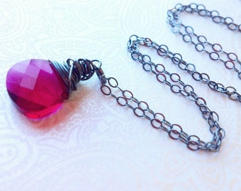 Ruby Swarovski Crystal Briolette Necklace in Darkened/Oxidized Sterling Sterling---Pink Ruby/Gift for Friend