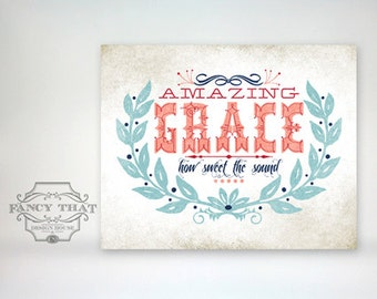 8x10 art print - Amazing Grace - Aged & Worn, Vintage Americana Colors Typography Poster Print