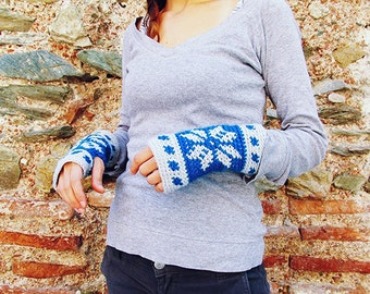 Crochet PATTERN- Nordic Fair Isle Mitts Crochet Pattern-Crochet Mittens Pattern