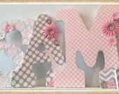Pink and Grey Nursery. Girl. Wall Letters. Name Letters. Girls Nursery Letters. Nursery decor. Name letters. Flowers. Pastel. Nursery. Baby