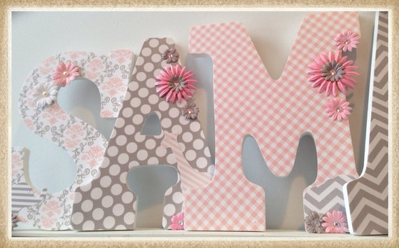Pink And Grey Nursery. Girl. Wall Letters. Name By Dmh1414