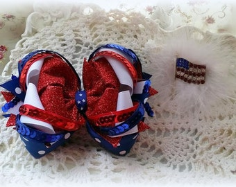 Patriotic Hair Clip....July 4th Hair Clip..Memorial Day Hair Clip...Flag Hair Bow....Holiday Hair Bow....4th of July Hair Bow..