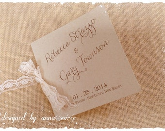 RUSTIC or BEACH Theme Mini-Square Wedding Ceremony PROGRAMS with Lace, Twine or Ribbon  - customize with your choice of font, colors, etc!