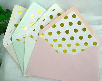 Gold Foil Polka Dot Lined Envelope Liner Wedding Invitation Mint Green, Pink Blush, Ivory, Soft Peach Custom Any Color