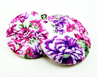Purple Flower Medley Print Button Earrings