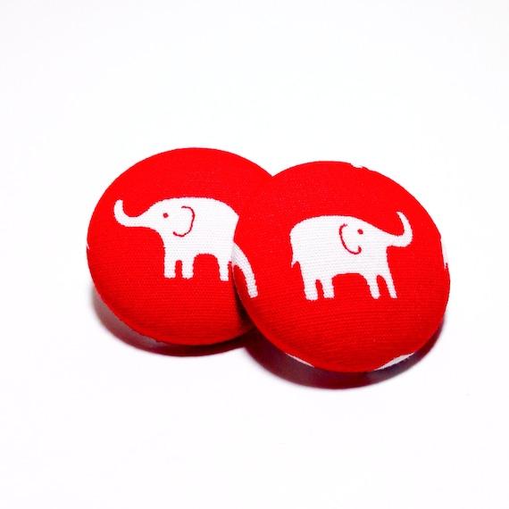 Delta Sigma Theta Earrings: Medium Delta Sigma Theta Elephant Button Earrings
