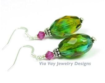 Teardrop Dangle Earrings - Green Czech Glass, Sterling Silver