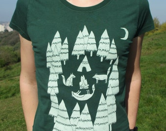 Organic Womens T-shirt, hand screen printed with eco-friendly inks. Featuring Foxes camping in the forest