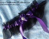 Black and Purple Wedding Garter Belt - Tossing Garter - Wedding