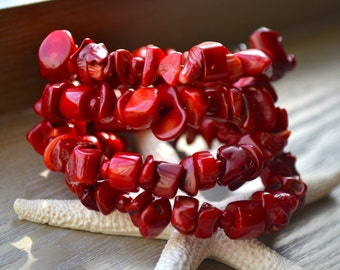 Red, Bamboo Coral Wrap Around Bracelet