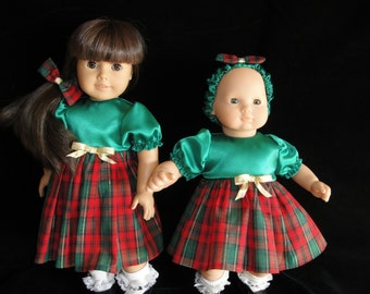 American Girl or Bitty Baby Red  and Green Plaid Holiday Dress