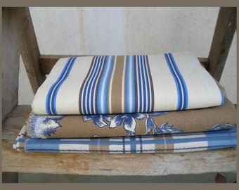 3 french fabric blue and brown 65 cm x 100 cm