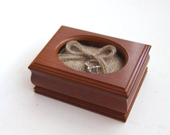 Wooden Box - Ring Bearer Box - Burlap Rustic Pillow - Vintage - Unique - Wedding - Repurposed