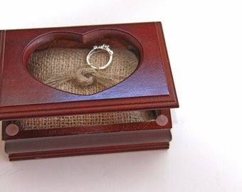 Wooden Box - Ring Bearer Box - Burlap Rustic Pillow - Heart - Vintage - Unique - Wedding - Repurposed