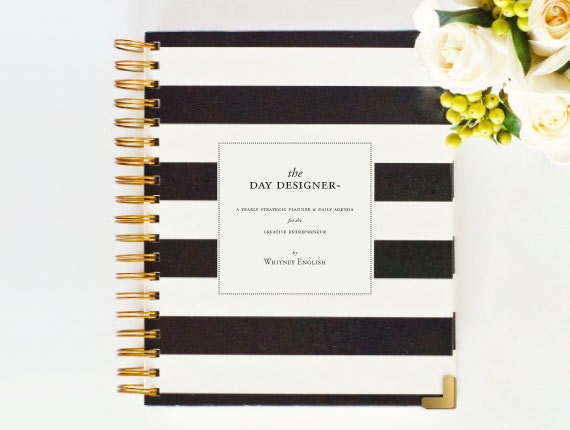 Feb Ship Date ALREADY AUTHENTIC Day Designer - JANUARY 2014 - 2015 Black Stripe - Yearly Planner & Daily Agenda, Calendar, Organizer